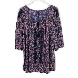 Lucky Brand Linen Blend Embroidered Tunic Top 3X